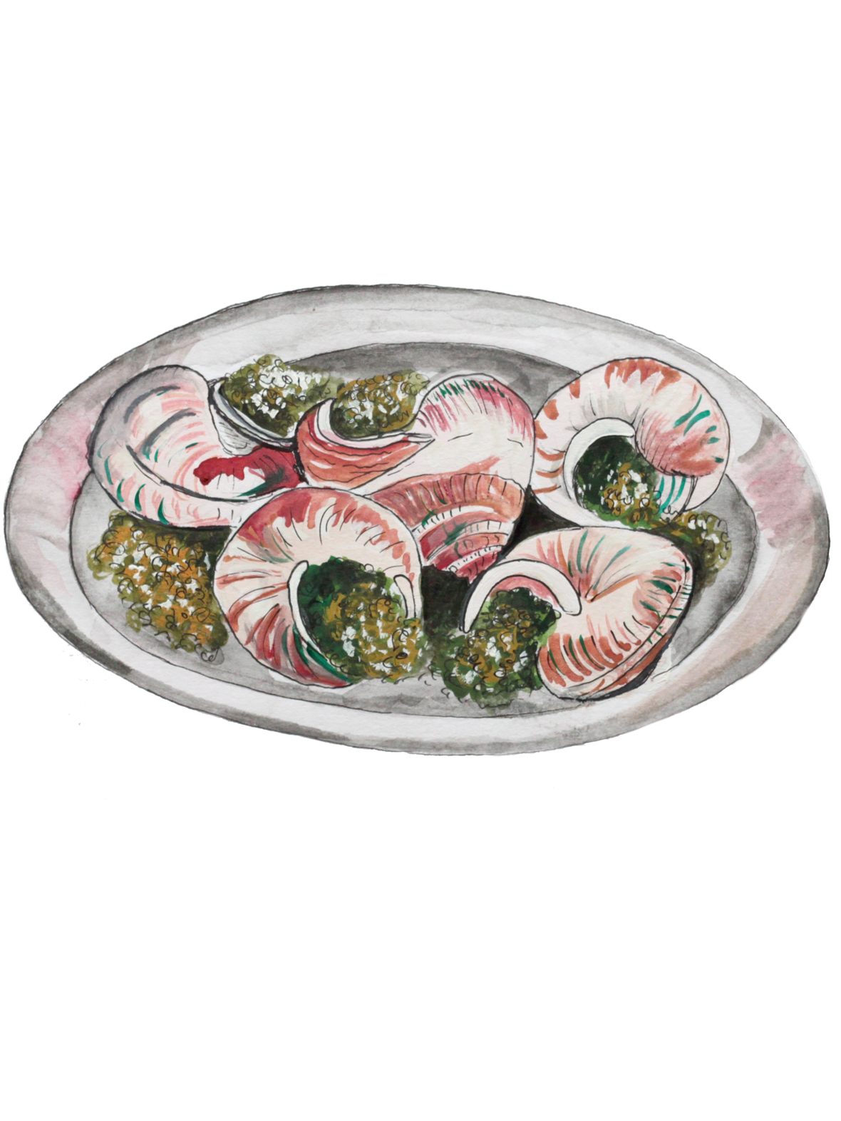 Illustration of Garlic Snails on a plate